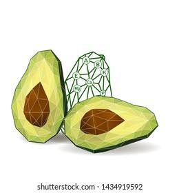 Avocado cut in half. Avocado isolated. Polygonal fruit - avocado.