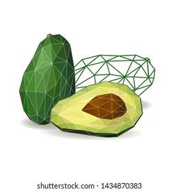 Avocado cut in half.  Polygonal fruit - avocado.  Low poly style. Avocado isolated.