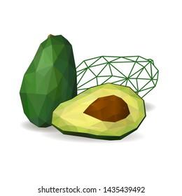 Avocado cut in half.  Polygonal fruit - avocado. Avocado isolated. Low poly style.