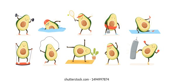 Avocado doing sport flat vector illustrations set. Exotic fruit cartoon characters training in gym. Kawaii avocado athletes swimming, playing tennis, doing yoga. Funny healthy lifestyle concept.