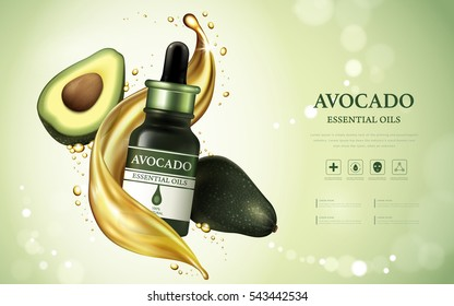 Avocado essential oil ads, fruit anatomy with oil texture floating in the air isolated on bokeh green background, 3d illustration