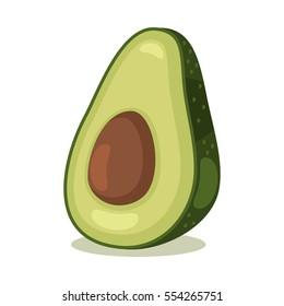 Avocado fruit. Cartoon vector icon isolated on white background.