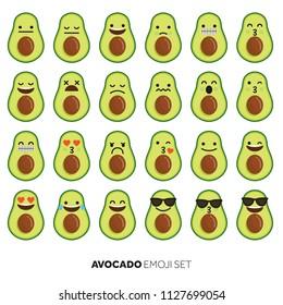 Avocado fruit cute emoji character icon
