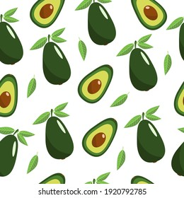 Avocado and green leaves, seamless pattern. Green avocado seamless pattern. Half an avocado. Vector illustration of avocado.