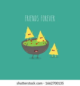 avocado guacamole and nachos. Funny vector illustration. Use for card, poster, banner, web design and print on t-shirt. Easy to edit.