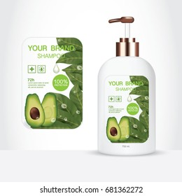 Avocado Hair Care, Packaging products Hair Care design, shampoo bottle templates on White background
