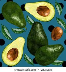 Avocado, half of avocado, avocado painting background. Vector illustration of fruit avocado. seamless pattern
