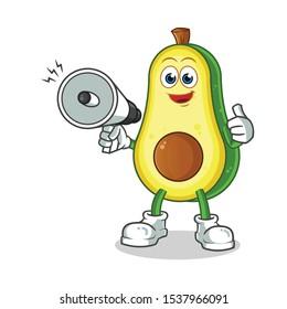 avocado hold handy loudspeaker cartoon vector mascot illustration