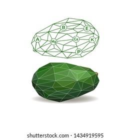 Avocado isolated. Polygonal fruit - avocado.