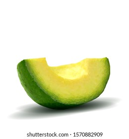 Avocado low poly. Fresh, nutritious and tasty avocado. Symbols of fruits. Elements for label design. Fruits ingredients in triangulation technique. Vector illustration.