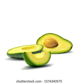 Avocado low poly. Fresh, nutritious and tasty avocado. Symbols of fruits. Elements for label design. Fruits ingredients in triangulation technique.