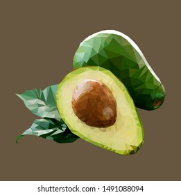 Avocado Low Poly Style. Vector Stock Illustration