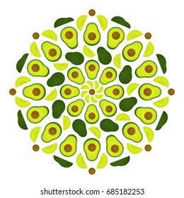 Avocado mandala ornament. Circular decorative pattern of whole and cut avocado fruits. Food vector illustration.