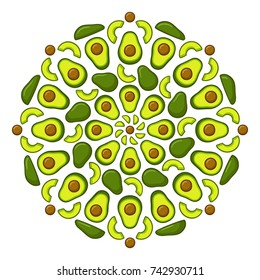 Avocado mandala ornament. Decorative pattern of whole and cut avocados. Healthy food vector illustration.