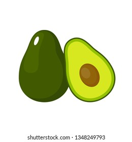 Avocado on a white background isolated. Vector illustration