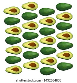 Avocado. Polygonal fruit. Polygonal fruit - avocado. Low poly style. Avocado isolated.
