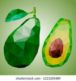 Avocado in polygonal style. Vector fruit