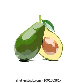 avocado polygonal vector illustration isolated
