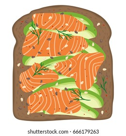 Avocado salmon toast. Delicious sandwich made of fresh spelt toasted bread with slices of avocado and smoked lox. Sesame seeds, seasoning and dill. Healthy breakfast. Hand drawn vector illustration.