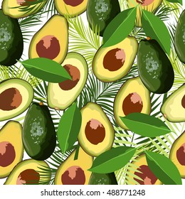 Avocado seamless pattern with tropical leaves of palm tree, vector background.