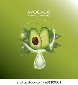 Avocado  Serum Skin Care ads on green background, Cosmetics Concept