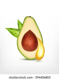Avocado slice wit oil drop. Vector icon. EPS10