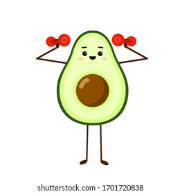 Avocado sport with red dumbbells. Avocado character design on white background. Morning exercises. Cute illustration for greeting cards, stickers, fabric, websites and prints.