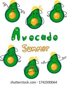 Avocado summer  banner .Set of differents funny emocion avocado . Smile and happy avicados.Vector stock.