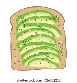 Avocado toast. Fresh toasted bread with slices of ripe avocado. Delicious avocado sandwich with sesame seeds, seasoning and dill. Vector illustration.