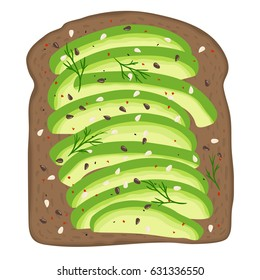 Avocado toast. Fresh toasted dark rye bread with slices of ripe avocado. Delicious avocado sandwich with sesame seeds, seasoning and dill. Hand drawn vector illustration.