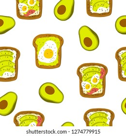 Avocado toast. Hand drawn vector illustration. Healthy wholesome breakfast with green avocado toast and egg. Seamless pattern