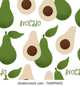 Avocado vector illustration, vegan concept, cute design seamless pattern