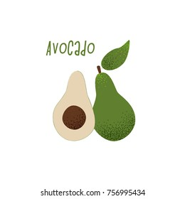 Avocado vector illustration, vegan concept, cute design