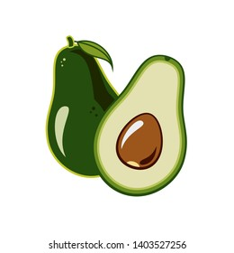 Avocado vector isolated on white backgroud. Green avocado whole, cut in half, with leaf and seed. Vector hand drawn illustration avocado for vegetarian logo, sign, sticker, poster, restaurant menu.