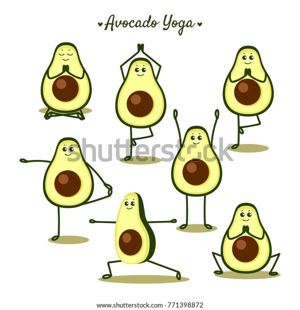 Avocado Yoga Funny Vector Illustration Yoga Stock Vector Royalty Free 771398872