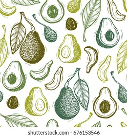 Avocados Vector Seamless pattern. Hass avocado or Bilse avocado variety. Background with California tropical fruit. Hand drawn illustration