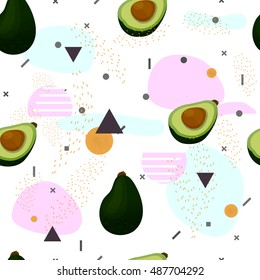 Avocado.Seamless pattern.Memphis trendy art.Abstract pattern in pink and mint colors on white background.Retro style repeating background. Texture in Memphis retro style. Fabric, prints, background.