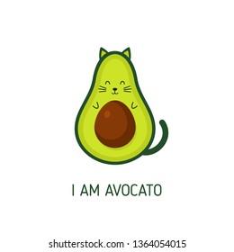 I am avocato. Cat avocado. Green icon. Isolated. Vector