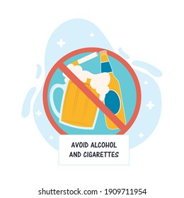 avoid alcohol and cigarettes recommendation vector illustration design