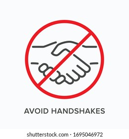 Avoid handshakes line icon. Vector outline illustration of no hand shake. Stop social contact sign, pictorgam for coronavirus prevention