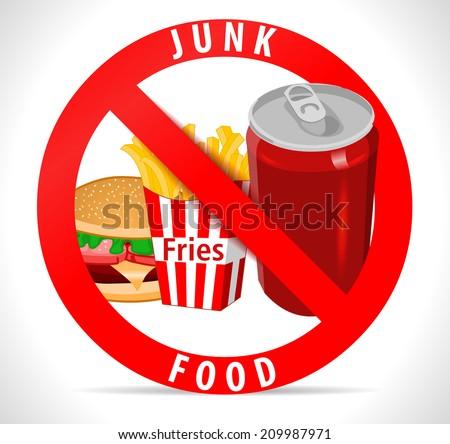 avoid junk food poster fries burger stock vector royalty free