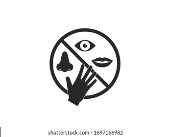 Avoid touching your face. Vector illustration, flat design.