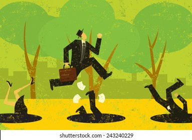 Avoiding Business Pitfalls A businessman jumping over pitfalls while others fall into them. The people and the background are on separately labeled layers.