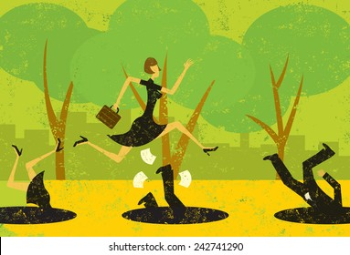 Avoiding Business Pitfalls A businesswoman jumping over pitfalls while others fall into them. The people and the background are on separately labeled layers.