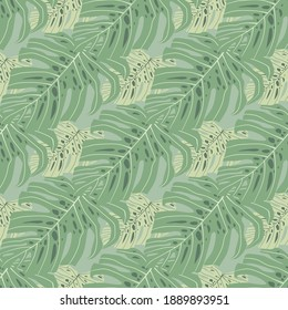 Avstract pale seamless doodle pattern with green monstera shapes. Botanical exotic artwork. Decorative backdrop for wallpaper, textile, wrapping paper, fabric print. Vector illustration.