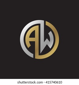 AW initial letters linked circle elegant logo golden silver black background