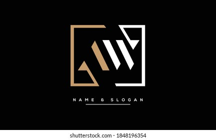 AW, A W Abstract Letters Logo Monogram