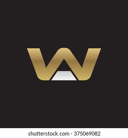 AW or WA company linked letter logo golden silver black background