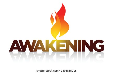 AWAKENING: title with hovering Holy Spirit flame