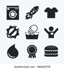 Award achievement, spanner and cog, startup rocket and burger. Wash machine icon. Hand wash. T-shirt clothes symbol. Laundry washhouse and water drop signs. Not machine washable. Flat icons.